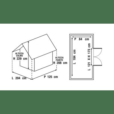 casetta in legno grezzo Heinola 1,55 m², spessore 19 mm
