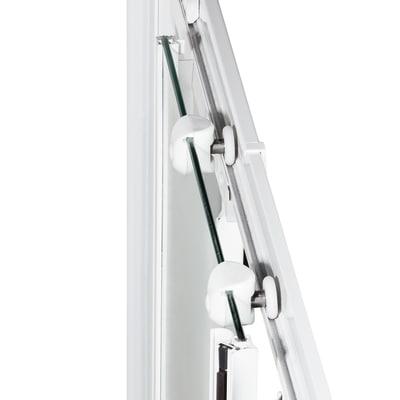Box doccia scorrevole Nerea 87.5-89 x 87,5-89, H 185 cm cristallo 4 mm serigrafato/bianco lucido