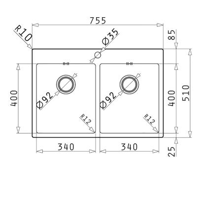 Lavello incasso Istros L 75,5 x P  51 cm 2 vasche