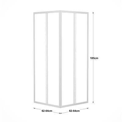 Box doccia scorrevole Elba 62-64 x 62-64, H 185 cm acrilico 2 mm stampato