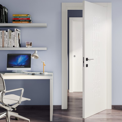 Porta da interno scorrevole Keyboard white bianco 80 x H 210 cm reversibile