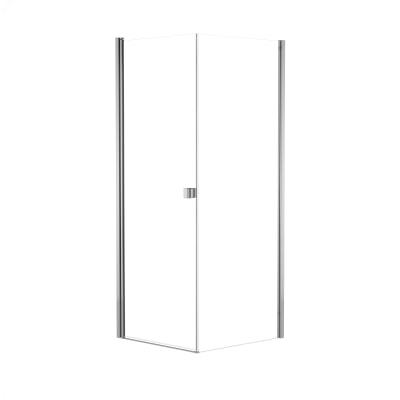 Doccia con porta battente e lato fisso Neo 87 - 89 x 77 - 79 cm, H 200 cm vetro temperato 6 mm trasparente/cromo PVD