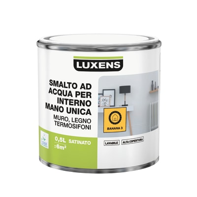 Smalto manounica Luxens all'acqua Giallo Banana 3 satinato 0.5 L