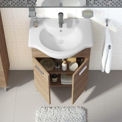 Mobile bagno Rimini rovere L 65 cm