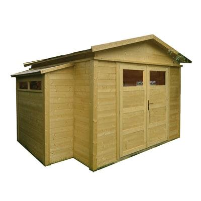 casetta in legno grezzo Sirkka 2 10,82 m², spessore 28 mm
