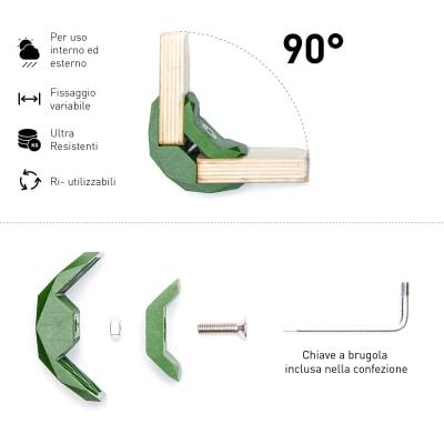 Connettore Playwood 90° per pannelli in legno in polimero verde confezione 4 pezzi