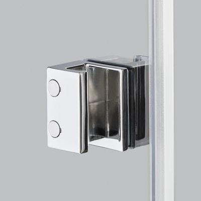 Doccia con porta battente e lato fisso Neo 77 - 79 x 77 - 79 cm, H 200 cm vetro temperato 6 mm serigrafato/bianco opaco