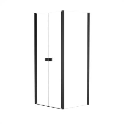 Doccia con porta saloon e lato fisso Neo 67 - 71 x 77 - 79 cm, H 200 cm vetro temperato 6 mm trasparente/nero