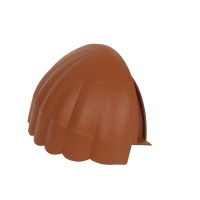 Frontale chiusura per colmo tondo in plastica color terracotta 17 x 8 cm, L 10 cm