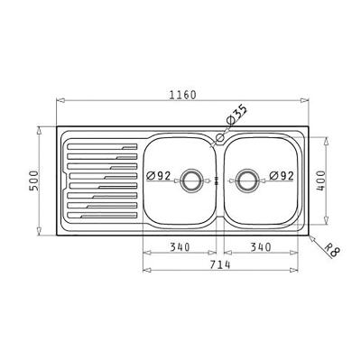 Lavello incasso Amaltia L 116 x P  50 cm 2 vasche DX + gocciolatoio
