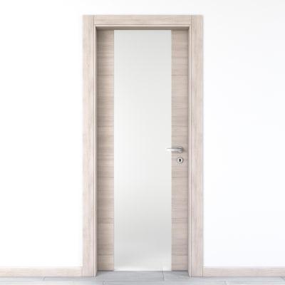 Porta da interno battente Resort Vetro larice ghiaccio 90 x H 210 cm sx
