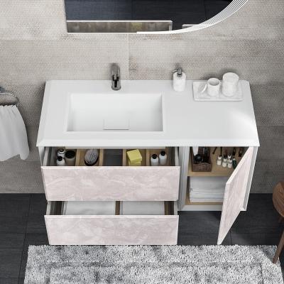 Mobile bagno Devon bianco con frontale onice L 105 cm