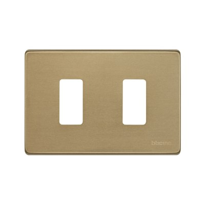 Placca 2 moduli BTicino Magic bronzo