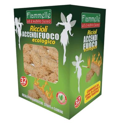 Riccioli di legna accendifuoco ecologico 32 pezzi