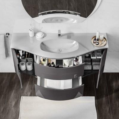 Mobile bagno Vague grigio antracite L 138 cm