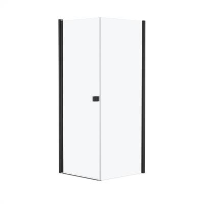 Doccia con porta battente e lato fisso Neo 81 - 83 x 77 - 79 cm, H 200 cm vetro temperato 6 mm cromo PVD