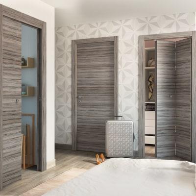 Porta da interno battente Cover palissandro grigio 90 x H 210 cm reversibile