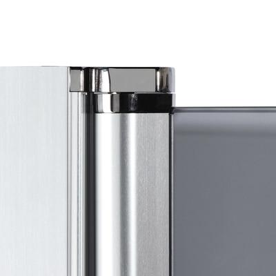 Doccia con porta battente e lato fisso Neo 73 - 75 x 77 - 79 cm, H 200 cm vetro temperato 6 mm cromo PVD
