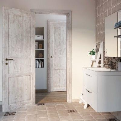 Porta da interno scorrevole Old Town bianco sbiancato 80 x H 210 cm reversibile