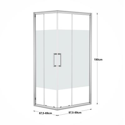Box doccia scorrevole Quad 67.5-69 x 87,5-89, H 190 cm cristallo 6 mm serigrafato/silver