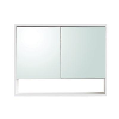 Armadietto a specchio Indo L 80 x H 62 x P  15,5 cm frassino bianco