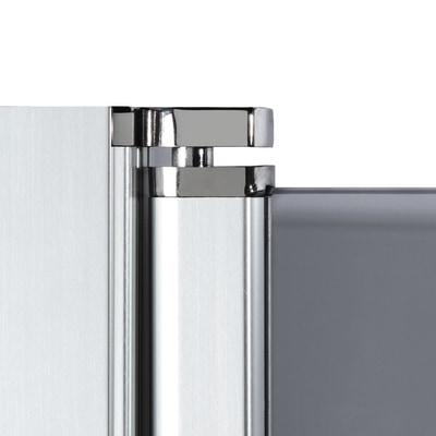 Doccia con porta battente e lato fisso Neo 71 - 73 x 77 - 79 cm, H 200 cm vetro temperato 6 mm serigrafato/cromo PVD