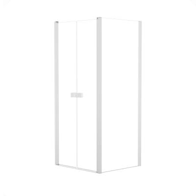 Doccia con porta saloon e lato fisso Neo 87 - 91 x 77 - 79 cm, H 200 cm vetro temperato 6 mm trasparente/bianco opaco