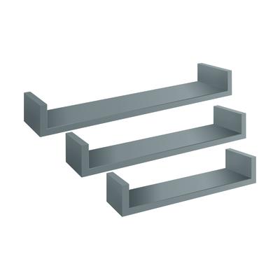Set 3 mensole a U Spaceo grigio, sp 1,8 cm