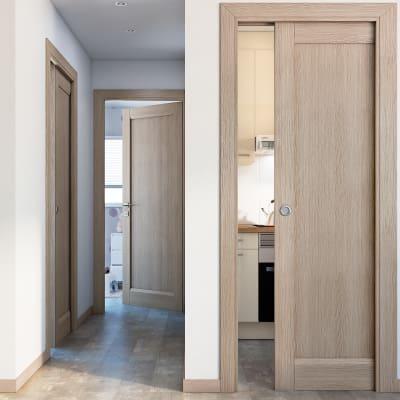 Porta da interno battente Etamin paglia 80 x H 210 cm dx