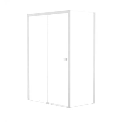 Doccia con porta scorrevole e lato fisso Neo 127 - 131 x 77 - 79 cm, H 200 cm vetro temperato 6 mm trasparente/bianco opaco