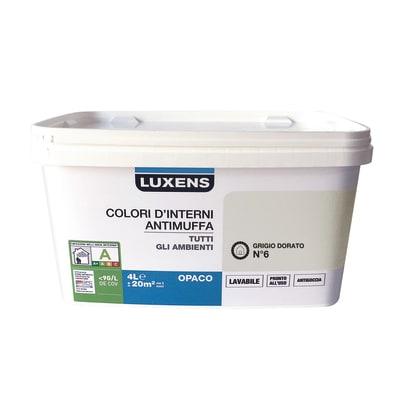 Idropittura lavabile Antimuffa Grigio Dorato 6 - 4 L Luxens