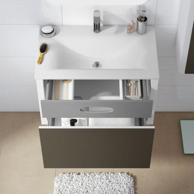 Mobile bagno Roxanne bianco, frontale in vetro effetto tessuto L 74 cm