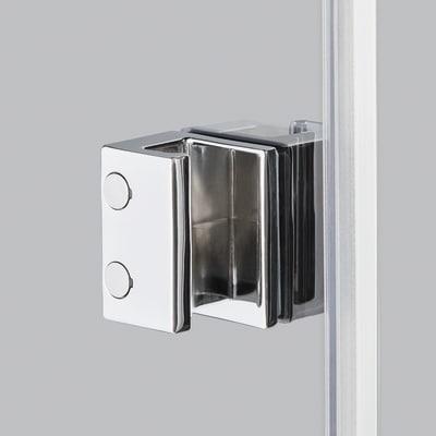 Doccia con porta saloon e lato fisso Neo 82 - 86 x 77 - 79 cm, H 200 cm vetro temperato 6 mm trasparente/bianco opaco