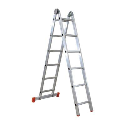 Scala snodata multifunzione alluminio Facal 6+6 gradini, per lavori fino a 4,6 m
