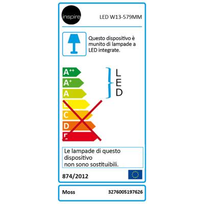 Illuminazione per ripostiglio e locali di servizio Inspire Moss L 57,9 cm LED 7 W luce naturale IP20