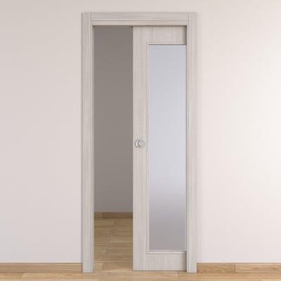 Porta da interno scorrevole Brooklyn Vetro frassino bianco 80 x H 210 cm reversibile