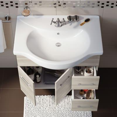Mobile bagno Ginevra rovere chiaro L 81 cm