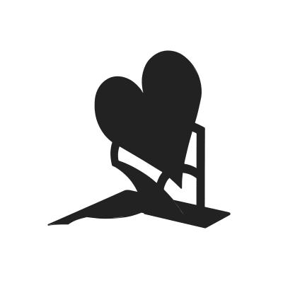 Fermalibri Mon amour nero L 14,6 x H 19 x P 14,5 cm