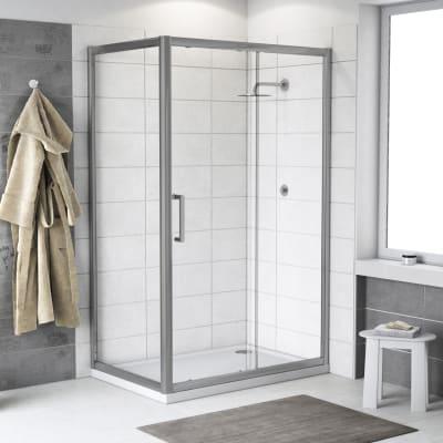 Doccia con porta scorrevole e lato fisso Quad 147.5 - 150,5 x 77.5 - 79 cm, H 190 cm cristallo 6 mm trasparente/silver