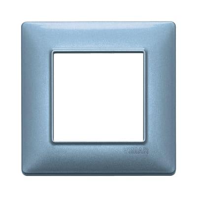 Placca 2 moduli Vimar Plana blu metallizzato
