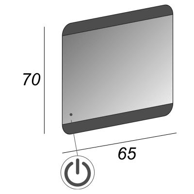 Specchio retroilluminato Sabbiato 65 x 70 cm