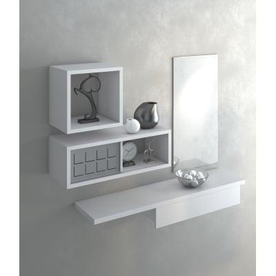 Mensola con cassetto bianco L 40 x P 25 x H 11, sp 1,8 cm