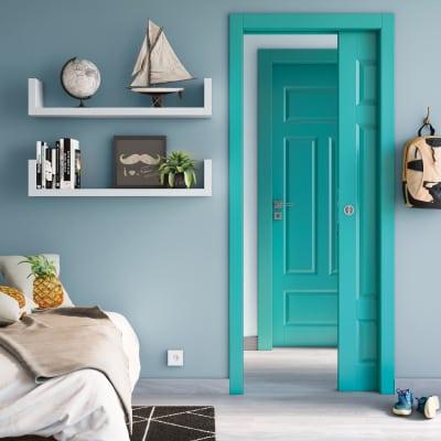 Porta da interno scorrevole Coconut Groove azzurro 90 x H 210 cm reversibile