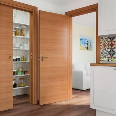 Porta da interno scorrevole Light noce 80 x H 210 cm reversibile