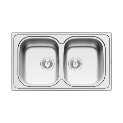 Lavello incasso Amaltia Dekor L 86 x P  50 cm 2 vasche