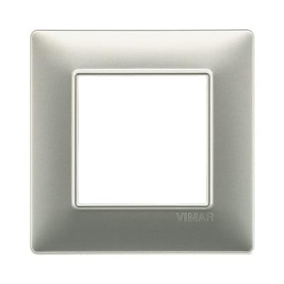 Placca 2 moduli Vimar Plana nichel opaco