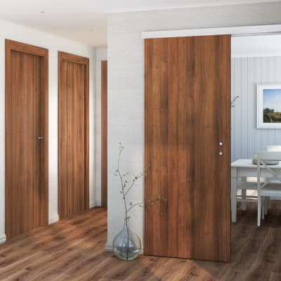 Porta da interno battente One walnut noce 60 x H 210 cm reversibile