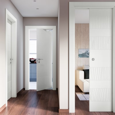 Porta da interno rototraslante Fence bianco 70 x H 210 cm sx