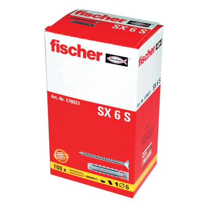 100 tasselli Fischer SX ø 6 x 30  mm con vite