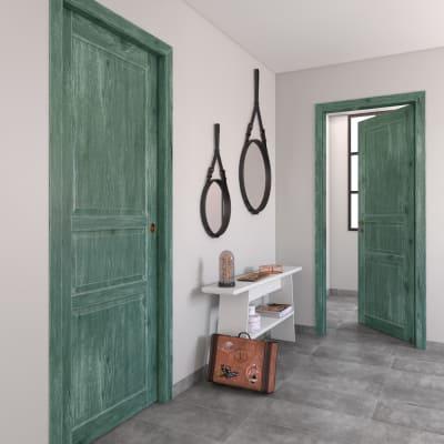Porta da interno scorrevole Old Town verde sbiancato 70 x H 210 cm reversibile